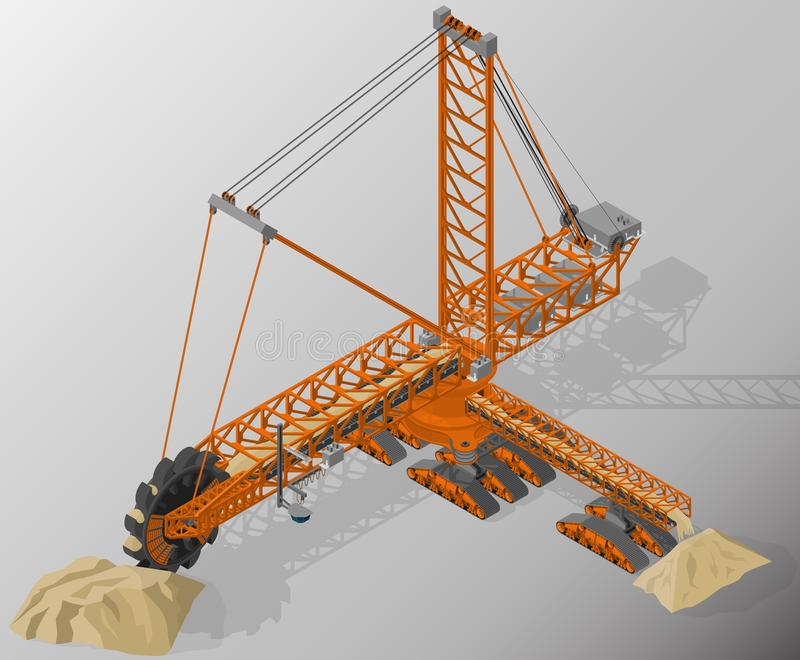 Equipment for high-mining industry. Vector isometric illustration of bucket-wheel excavator, heavy equipment used in surface mining. Equipment for high-mining royalty free illustration