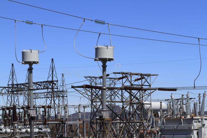 High voltage substation equipment royalty free stock photography