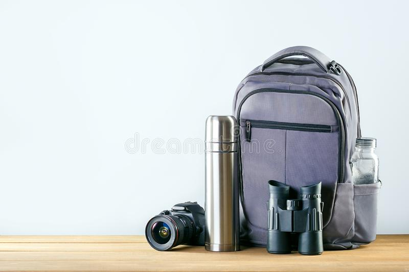 Equipment For Hiking on wooden table stock image
