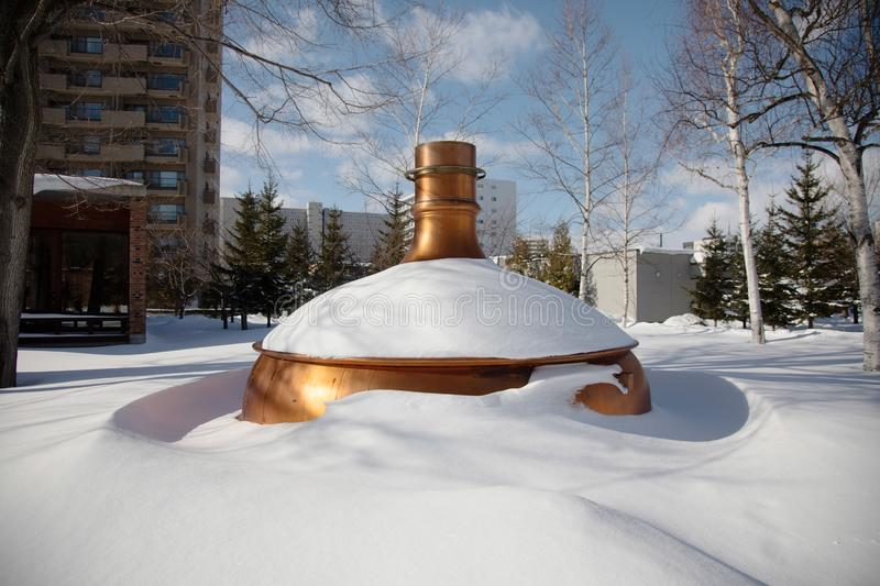 Equipment in Historical Building of Sapporo Beer Museum in winter, snowy day. 19 jan 2019 - Sapporo, Japan: Equipment in Historical Building of Sapporo Beer stock photography
