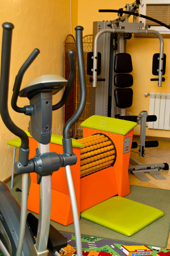 Equipment in home gym royalty free stock images