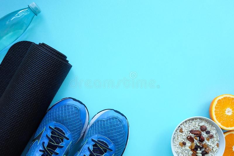 Equipment for home sport exercise. Fitness background. Concept for sport. royalty free stock photography
