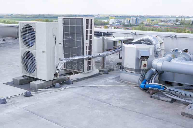 Equipment installation of air conditioning stock photos