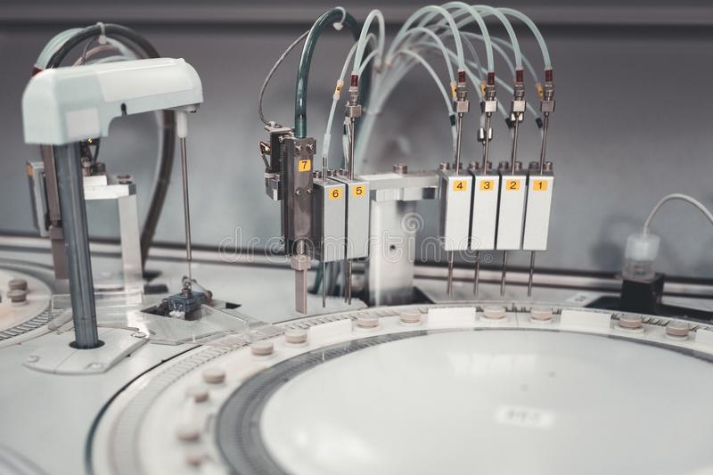 Laboratory equipment for controlling analyses. Equipment. Laboratory equipment being designed for controlling and sorting analysis of patients royalty free stock images