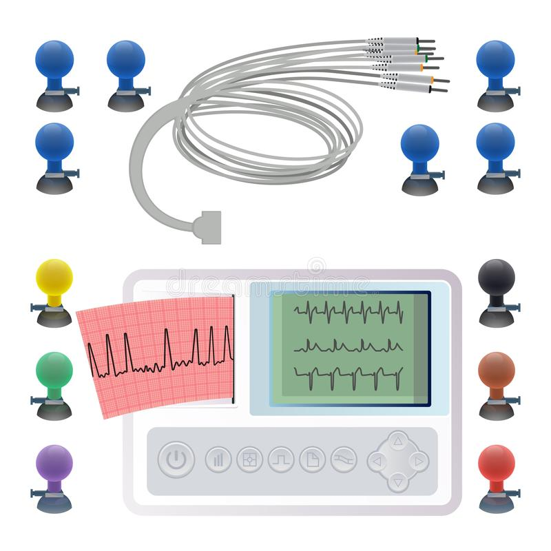Equipment for making electrocardiogram, wires clips and fasteners, electrocardiography. ECG or EKG machine recording electrical activity of heart using royalty free illustration