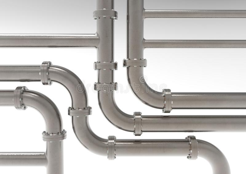 Equipment, metal piping. Equipment, metal piping of industrial plant, front view 3D rendering stock illustration