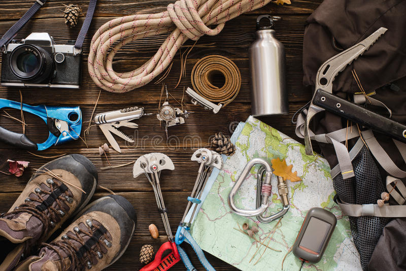 Equipment necessary for mountaineering and hiking stock photos