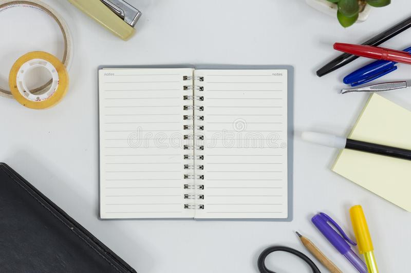 Set of office supplies for work with white background royalty free stock photography