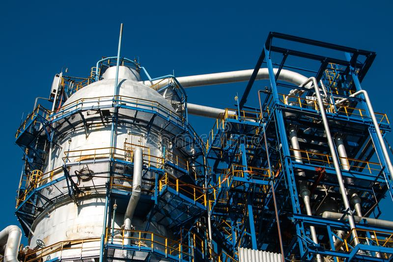 The equipment of oil refining stock photos