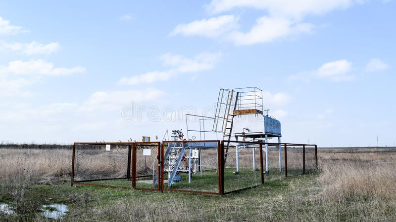 Equipment of an oil well. Shutoff valves and service equipment.  royalty free stock photo