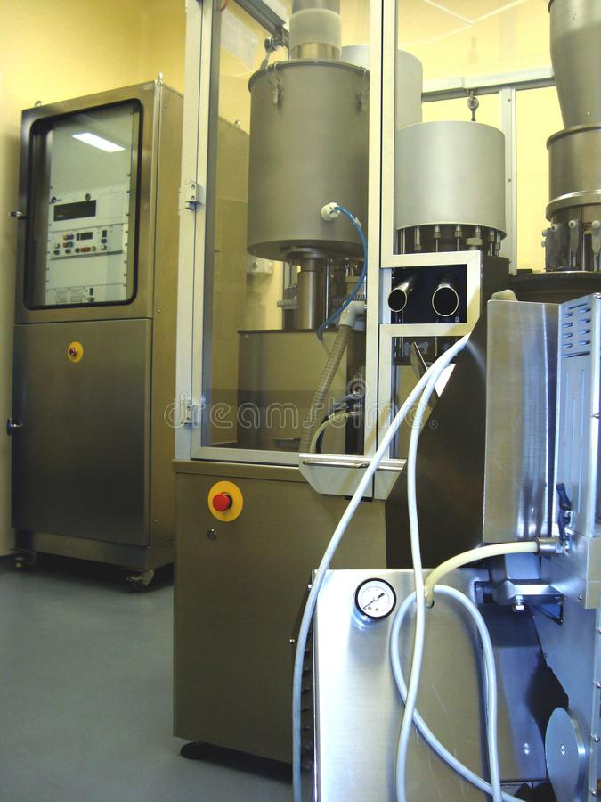 Equipment of pharmaceutical manufacturing stock photos