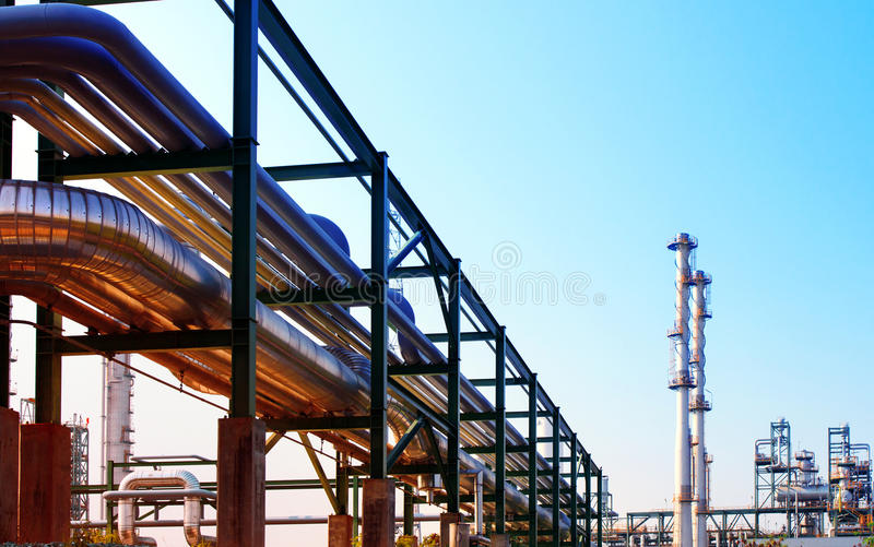 Equipment and pipe line tube in industry estate scene use for in. Dustrial and petrochemical industry background,backdrop royalty free stock photography