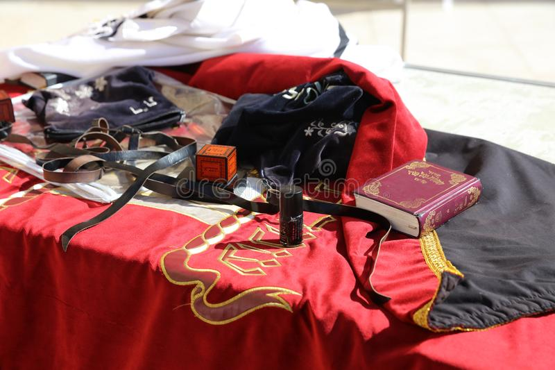 Equipment for the Prayer at the Western Wall in Jerusalem. Israel stock images