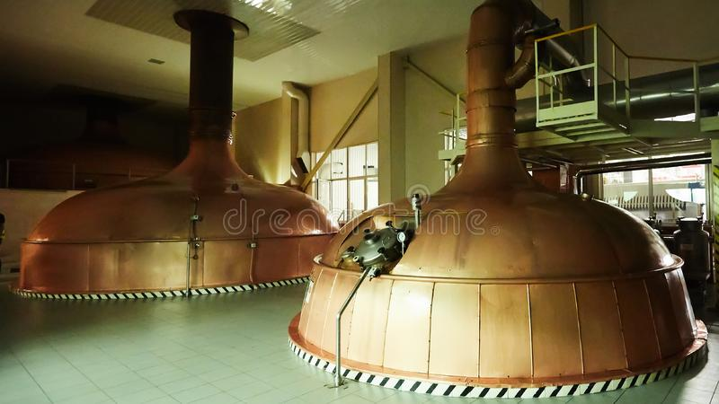 Equipment for preparation of beer. Lines of cooper tanks in brewery. Manufacturable process of brewage. Mode of beer. Production. Inside view of modern stock image