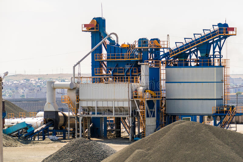 Equipment for production of asphalt, cement and concrete. Concrete plant royalty free stock photo