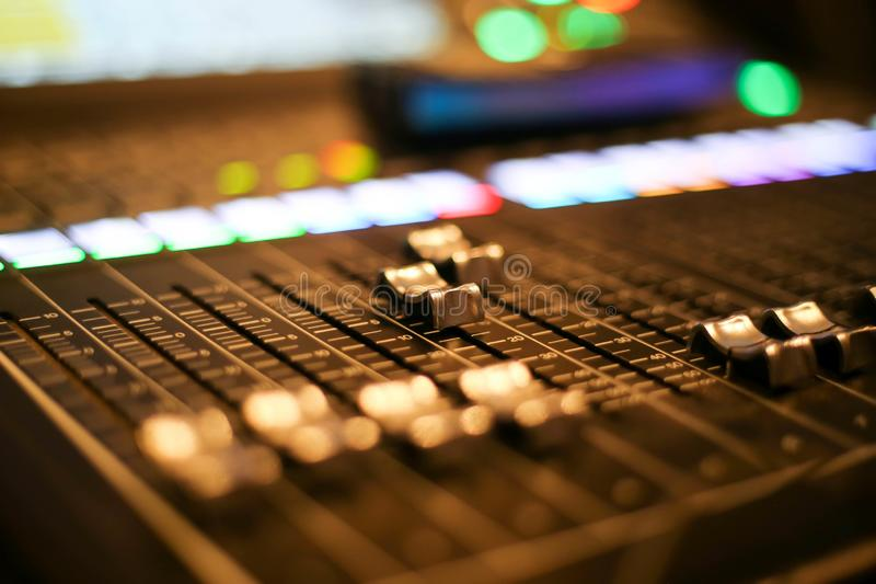 Equipment for sound mixer control in studio TV station, Audio and Video Production Switcher of Television Broadcast.  royalty free stock photography