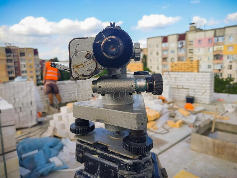 equipment theodolite tool at construction site works stock image