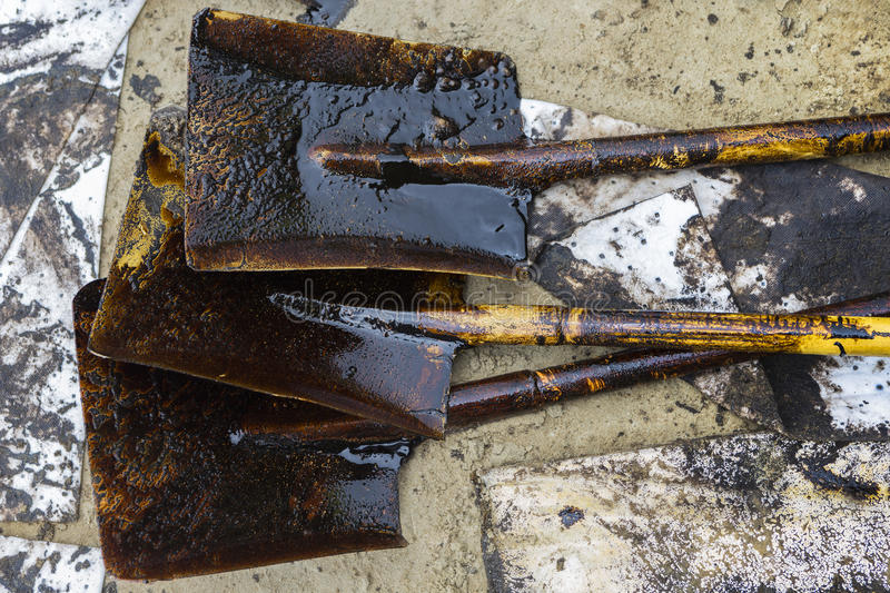 Equipment used to clean oil spill accident. On Ao Prao Beach at Samet island, Thailand stock photography