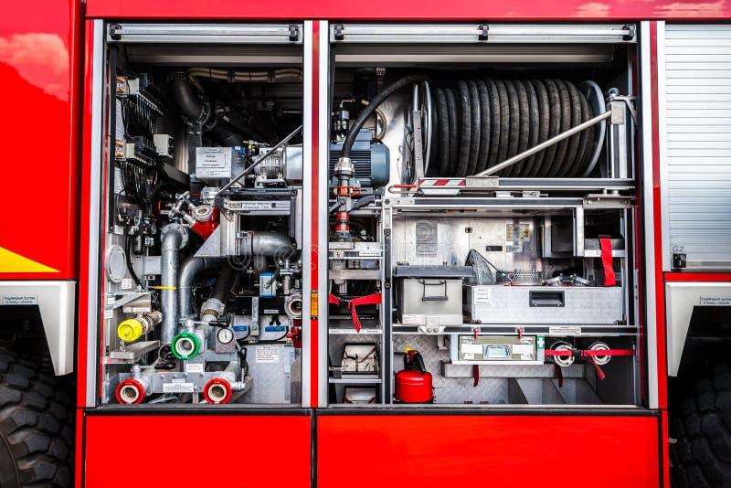 Equipo alemán del coche de bomberos fotografía de archivo libre de regalías