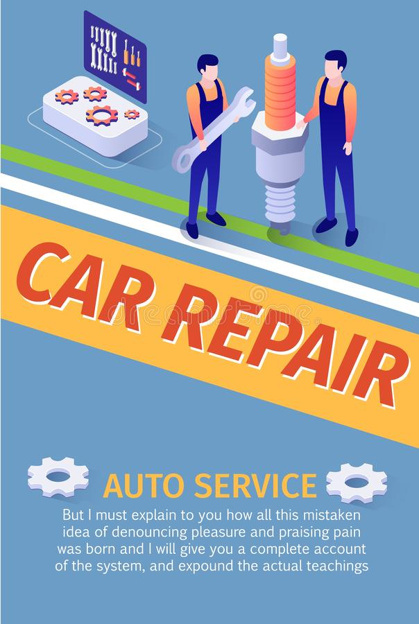 Equipo auto de la reparación del coche de la publicidad de cartel del servicio libre illustration