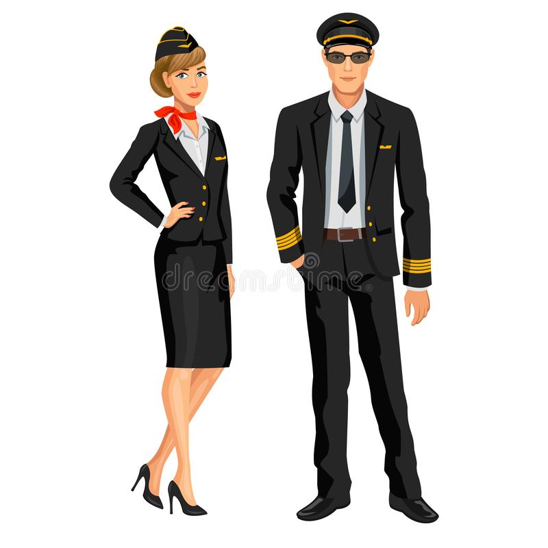 Equipo, azafata y piloto de la línea aérea Oficial y asistente de vuelo ilustración del vector