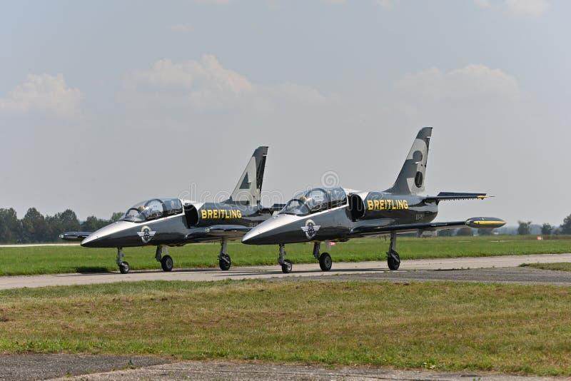 Equipo Breitling Jet, L39 ALBATROS Jets fotos de archivo libres de regalías