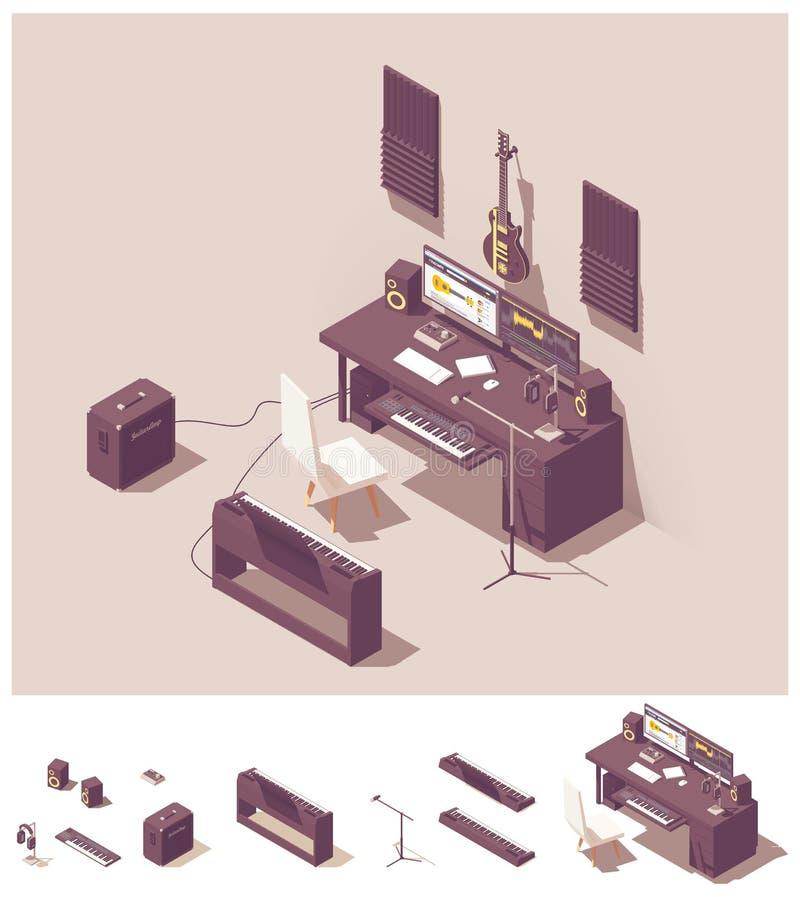 Equipo casero isométrico del estudio de grabación del vector stock de ilustración