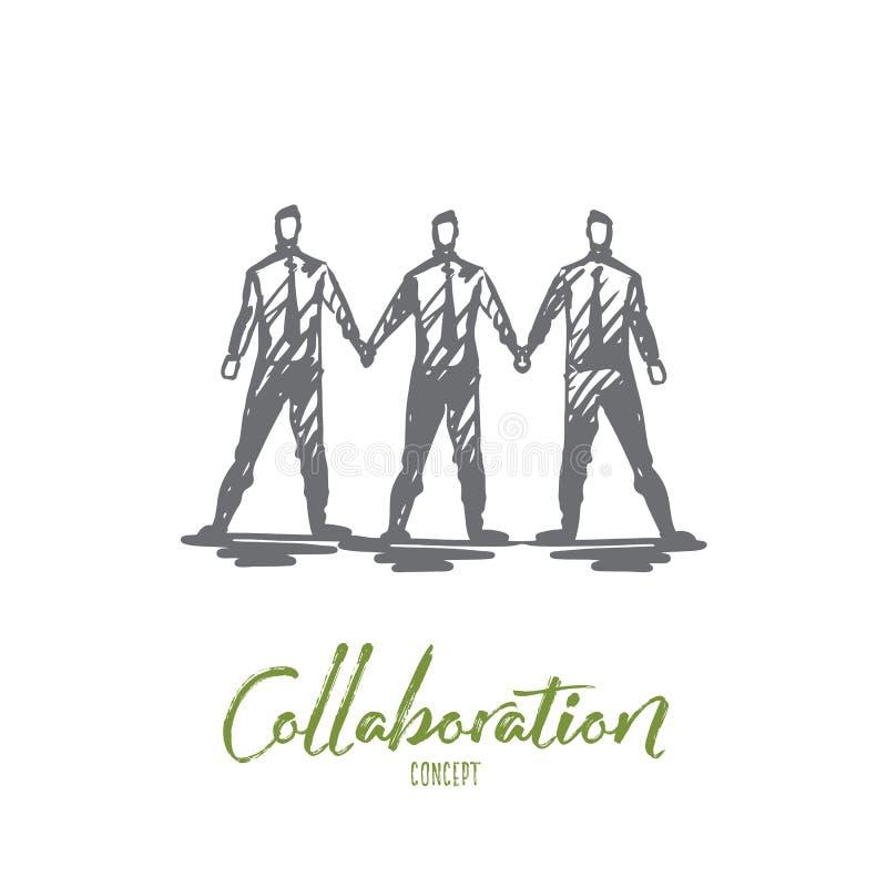 Equipo, colaboración, trabajo en equipo, sociedad, concepto del negocio Vector aislado dibujado mano ilustración del vector