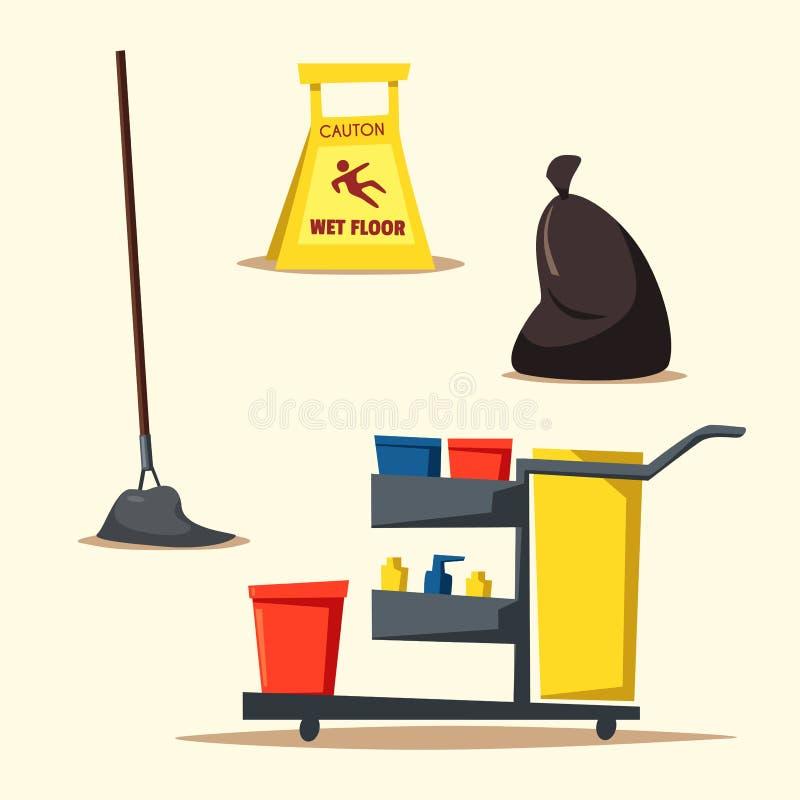 Equipo comercial de la limpieza con el carro Ilustración del vector de la historieta stock de ilustración