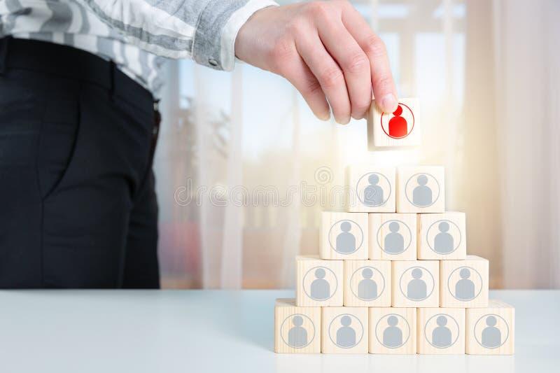 Equipo completo del reclutador de una persona del líder representada por el icono Gestión de recursos humanos Buscar al empleado  fotos de archivo