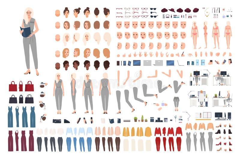 Equipo de animación para secretaria femenina o kit DIY. Conjunto de partes del cuerpo de la mujer, gestos, poses, ropas formales  stock de ilustración