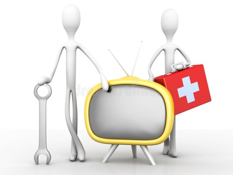 Equipo de ayuda de la TV stock de ilustración