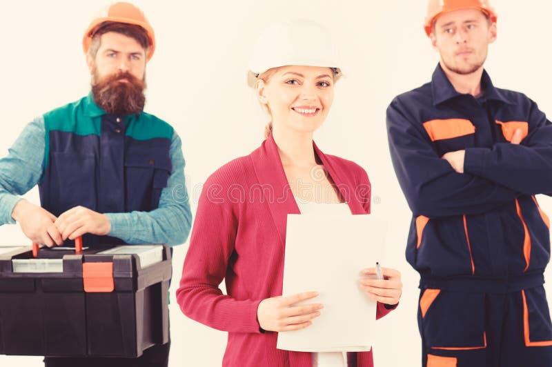 Equipo de concepto de los constructores Equipo de arquitectos, constructores, trabajadores imagen de archivo
