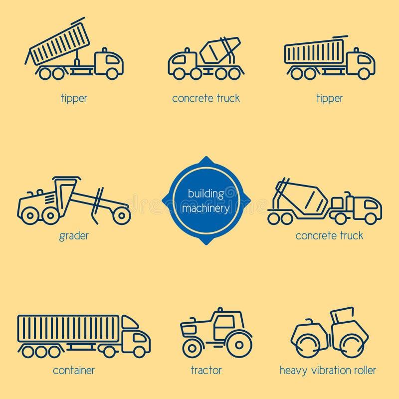 Equipo de construcción, vehículos constructivos libre illustration