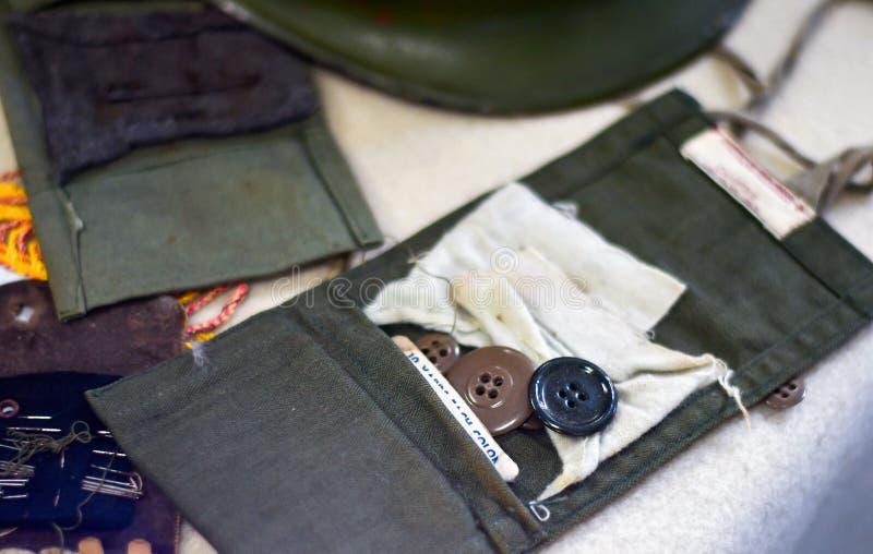 Equipo de costura Ww1 en la exhibición foto de archivo