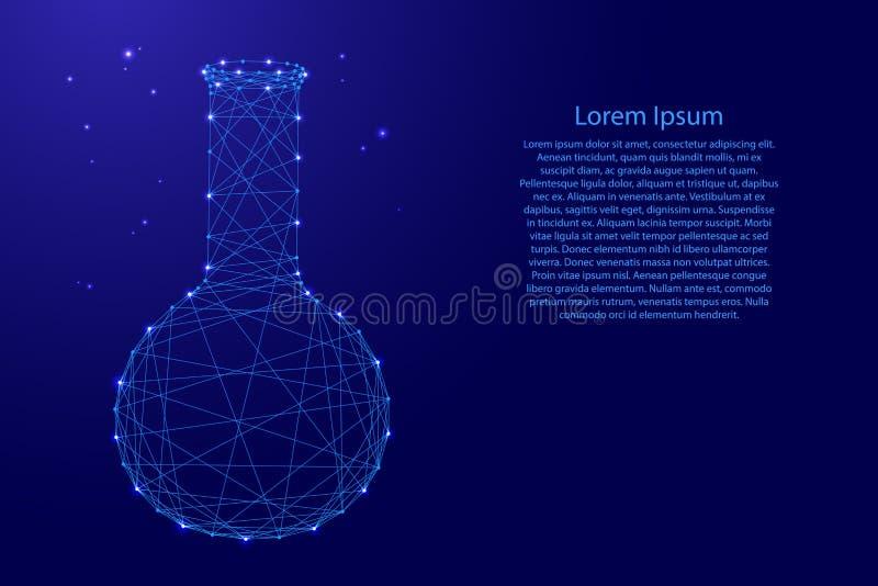 Equipo de cristal qu?mico de los frascos de la ciencia de l?neas azules poligonales futuristas y de estrellas que brillan intensa stock de ilustración
