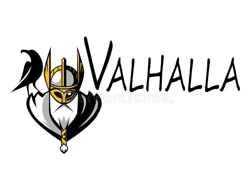 Equipo de deporte del ejemplo de Odin de dios o liga escandinavo Logo Template Cabeza del guerrero poderoso en mascota del casco stock de ilustración