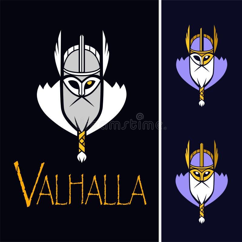 Equipo de deporte del vector del ejemplo de Odin de dios o liga escandinavo Logo Template Cabeza del guerrero poderoso en mascota ilustración del vector
