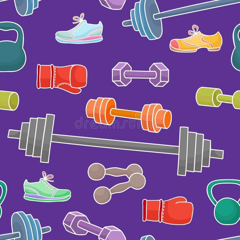 Equipo de deporte, elementos sanos de la forma de vida Modelo inconsútil ilustración del vector