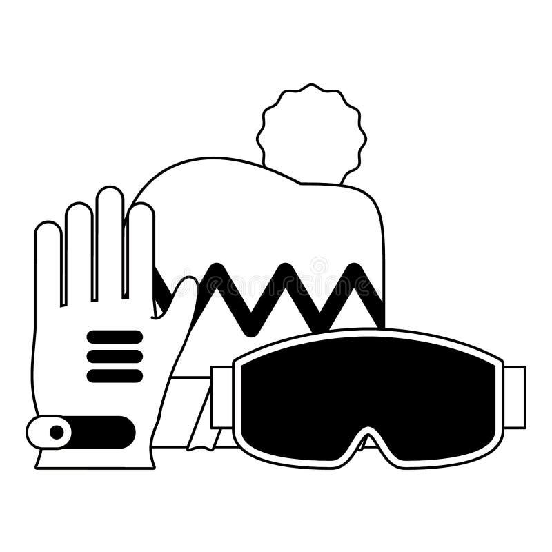 Equipo de deporte extremo del invierno en blanco y negro ilustración del vector