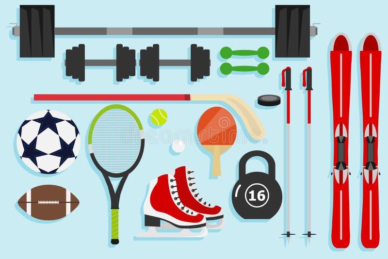 Equipo de deportes, artículos de los deportes Temas para el deporte ilustración del vector