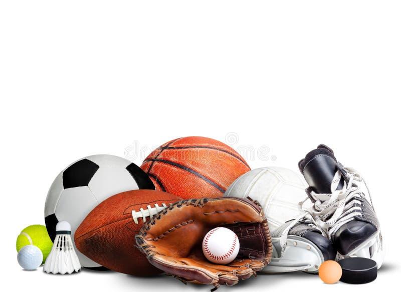 Equipo de deportes por todas las estaciones en el fondo blanco imagen de archivo libre de regalías