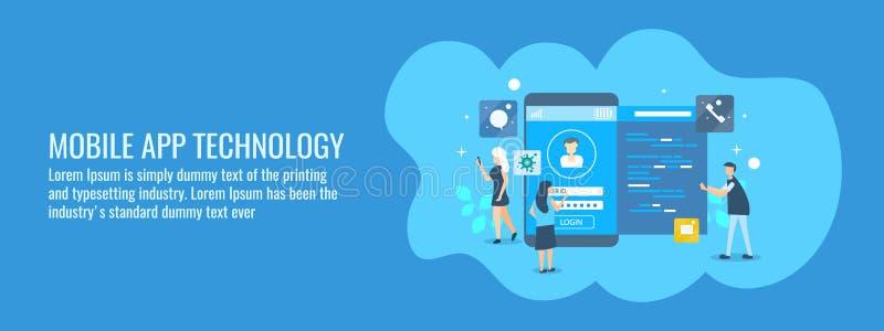 Equipo de desarrollo de aplicación móvil que trabaja en la tecnología del app, interfaz, codificación, programando, concepto Band stock de ilustración