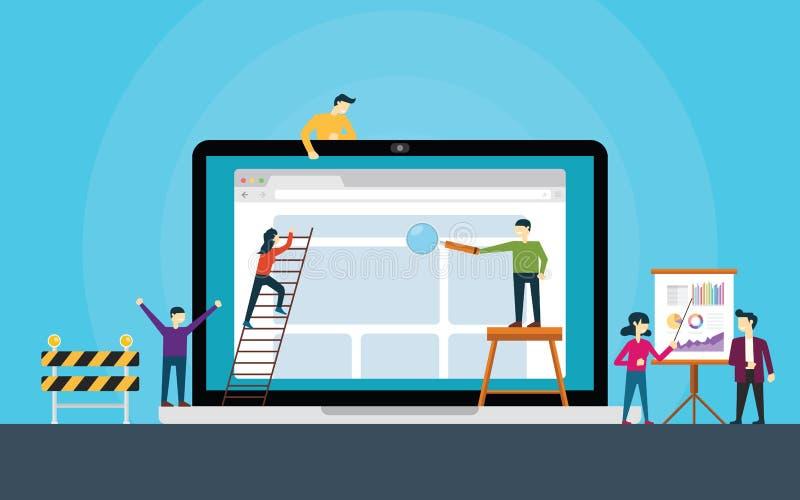 Equipo de desarrollo del sitio web en el frente de la estructura del ordenador portátil un sitio web ilustración del vector