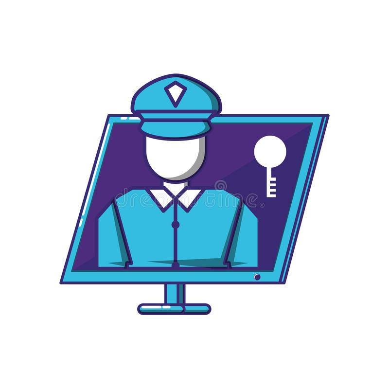 Equipo de escritorio con el agente de seguridad libre illustration