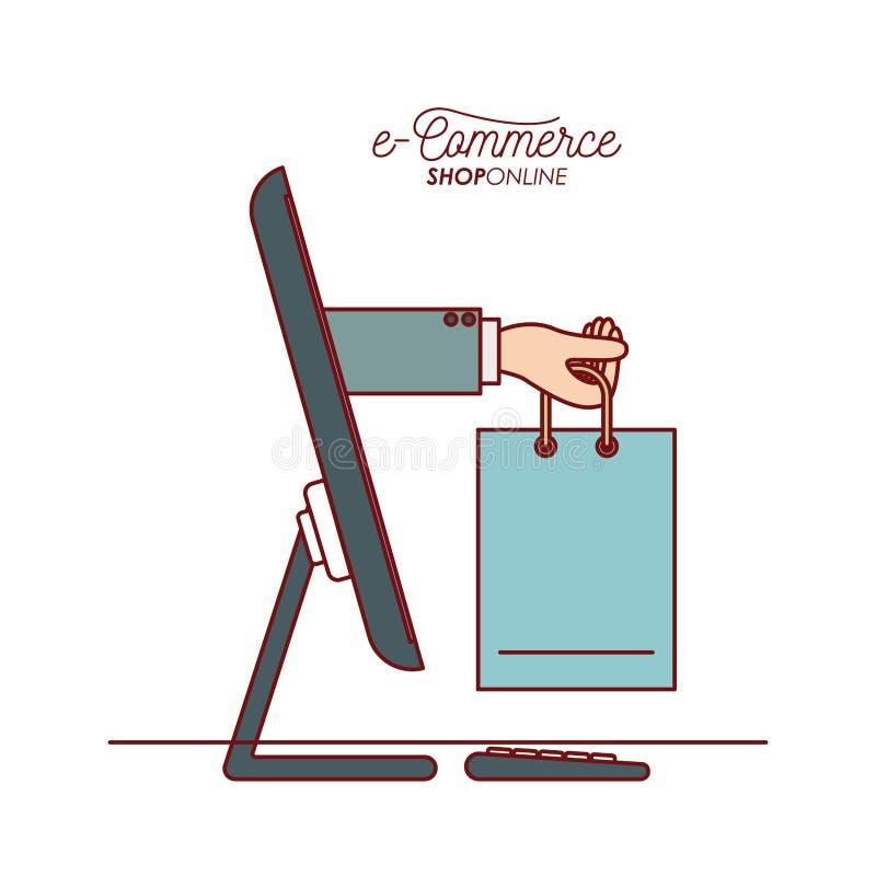 Equipo de escritorio con la mano que sostiene una tienda del comercio electrónico de la vista lateral del bolso que hace compras  stock de ilustración