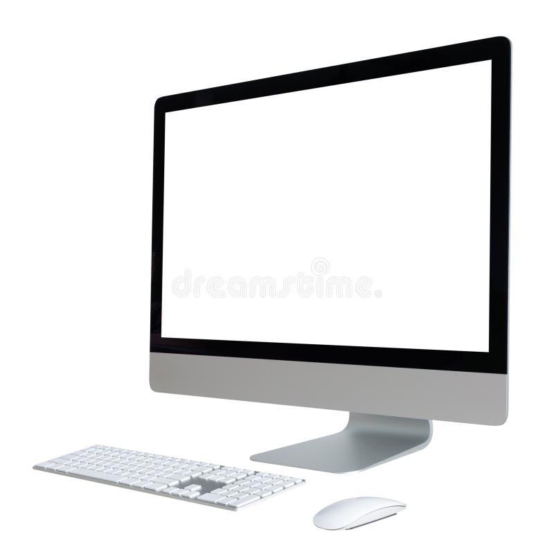 Equipo de escritorio con la pantalla blanca imagen de archivo libre de regalías