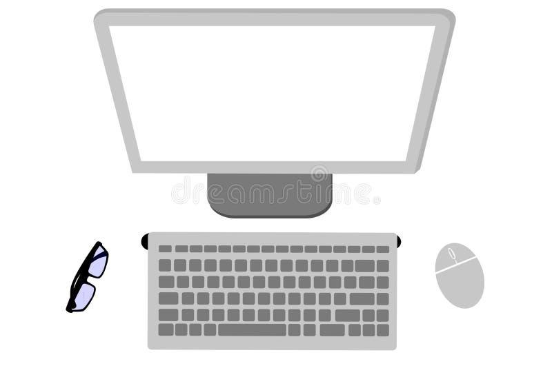Equipo de escritorio inalámbrico de la endecha plana o de la visión superior, ratón, monitor, teclado y lente ilustración del vector