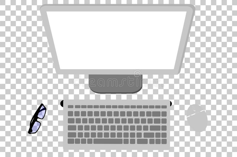 Equipo de escritorio inalámbrico de la endecha plana o de la visión superior, ratón, monitor, teclado y lente en el fondo transpa stock de ilustración