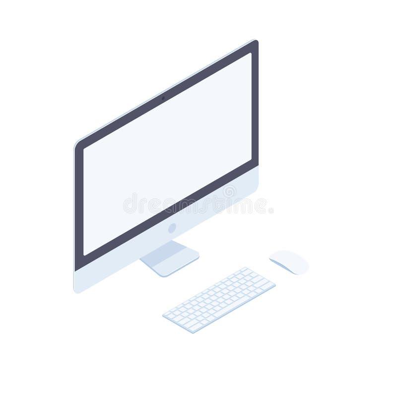 Equipo de escritorio isométrico aislado en el fondo blanco stock de ilustración